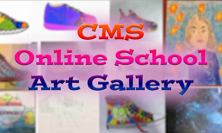 Students' art works from the online Visual Art lesson